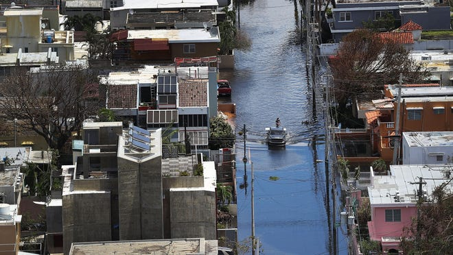 Maria left widespread damage across Puerto Rico, with virtually the whole island without power or cell service. Getty Images SAN JUAN, PUERTO RICO - SEPTEMBER 25: A flooded street is seen as people deal with the aftermath of Hurricane Maria on September 25, 2017 in San Juan Puerto Rico. Maria left widespread damage across Puerto Rico, with virtually the whole island without power or cell service. (Photo by Joe Raedle/Getty Images)
