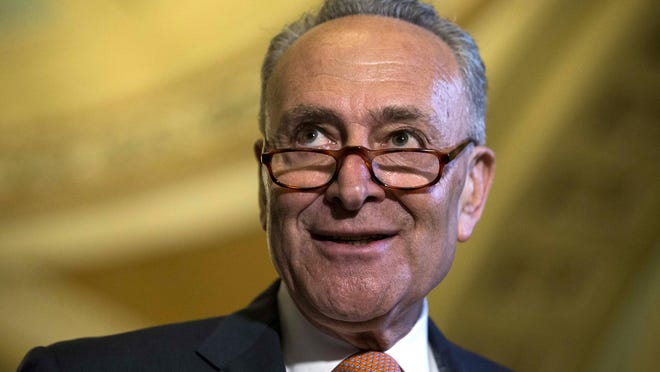 Senate Minority Leader Sen. Chuck Schumer (D-N.Y.) speaks to reporters during a news conference on Capitol Hill on July 11, 2017. (Alex Edelman/Zuma Press/TNS)