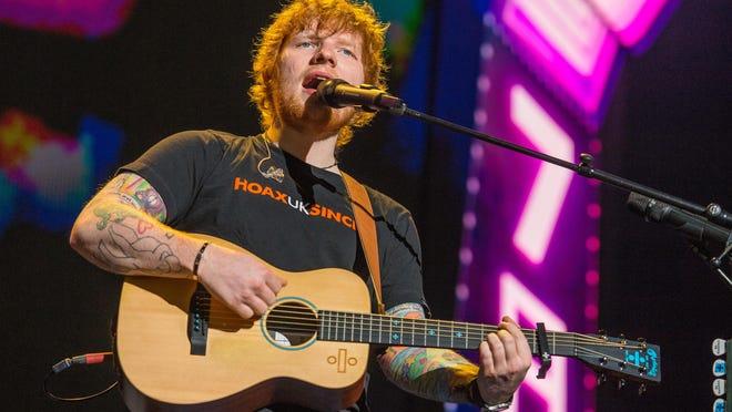 Ed Sheeran performs at Little Caesars Arena Sept. 27.
