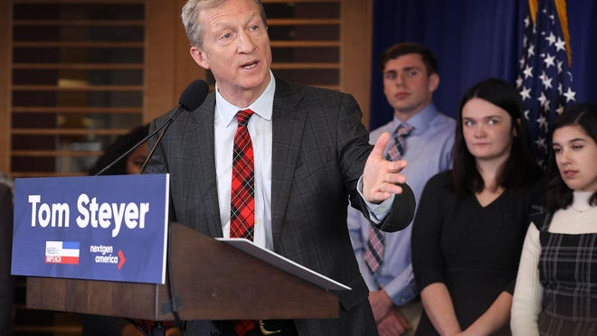 Tom Steyer has spent hundreds of millions of dollars funding Democratic politicians and pet progressive causes, Benson writes.
