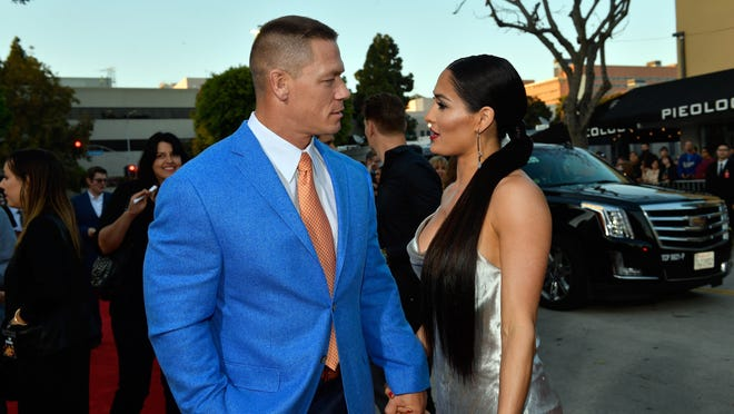 """WESTWOOD, CA - APRIL 03:  John Cena (L) and Nikki Bella attend the premiere of Universal Pictures' """"Blockers"""" at Regency Village Theatre on April 3, 2018 in Westwood, California.  (Photo by Matt Winkelmeyer/Getty Images) ORG XMIT: 775148111 ORIG FILE ID: 941609440"""