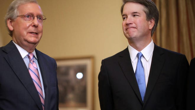 Senate Majority Leader Mitch McConnell, left, and new Supreme Court nominee Brett Kavanaugh meet on Tuesday in Washington, D.C. CHIP SOMODEVILLA/EPA-EFE epa06878288 Senate Majority Leader Mitch McConnell (L)makes brief remarks before meeting with Judge Brett Kavanaugh (R) in McConnell's office in the US Capitol, in Washington, DC, USA, 10 July 2018. President Donald Trump nominated Kavanaugh to succeed retiring Supreme Court Associate Justice Anthony Kennedy. EPA-EFE/CHIP SOMODEVILLA / POOL