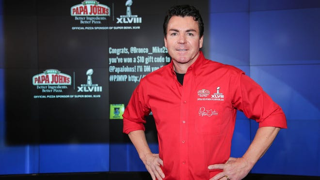 John H. Schnatter, Then-founder, Chairman & CEO of Papa John's International, Inc. rings the NASDAQ Opening Bell in this January 31, 2014 file photo. Schnatter is suing for access to the company's books and records after he resigned this month amid reports he used a racial slur during a media training session.