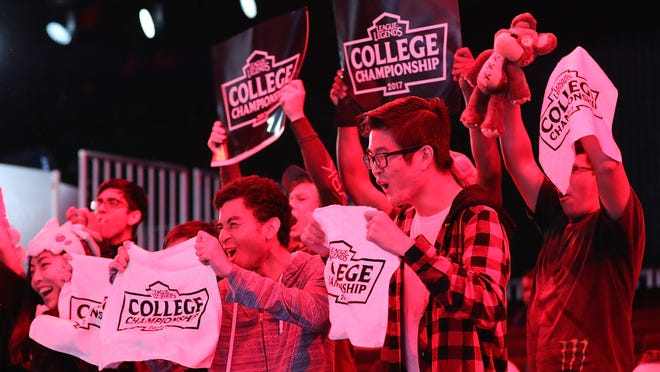 Fans cheering during the match between Maryville University and the University of Toronto in the League of Legends College Championship at the NA LCS Studio at Riot Games Arena, May 28, 2017, in Santa Monica, Calif.  eSports are taking off in colleges.
