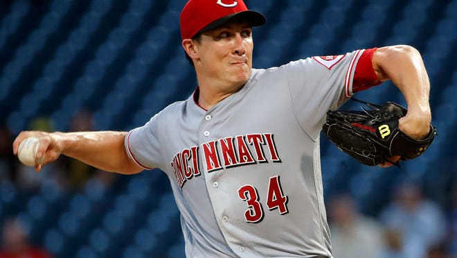 Cincinnati Reds starting pitcher Homer Bailey delivers in the first inning of the team's baseball game against the Pittsburgh Pirates in Pittsburgh, Wednesday, Sept. 5, 2018. (AP Photo/Gene J. Puskar)