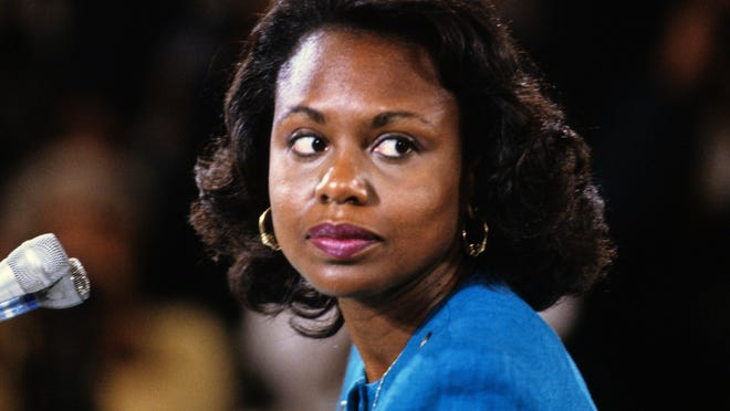 Professor Anita F. Hill testifies before the U.S. Senate Judiciary Committee on the confirmation of Judge Clarence Thomas to be associate justice of the U.S. Supreme Court on Oct. 11, 1991 in Washington, D.C. (Arnie Sachs/CNP/Zuma Press/TNS)