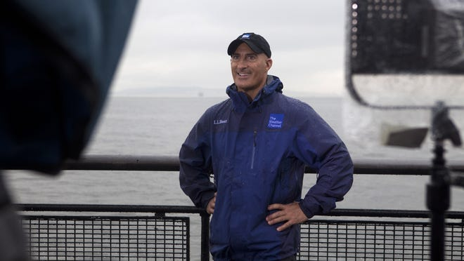Weather Channel meteorologist Jim Cantore, shown in this 2011 file photo reporting on Hurricane Irene, was in Florida last week to mark the start of the 2019 hurricane season.
