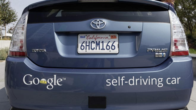A driverless car is on display at Google Headquarters in Mountain View, Calif., on Sept. 25, 2012. (Gary Reyes/Bay Area News Group/TNS)