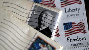 U.S. Postal Service stamps are displayed on May 10, 2017 in San Anselmo, California.