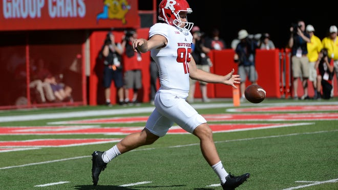 Former Rutgers punter Ryan Anderson, shown punting in a game in 2017, signed a contract with the New York Giants