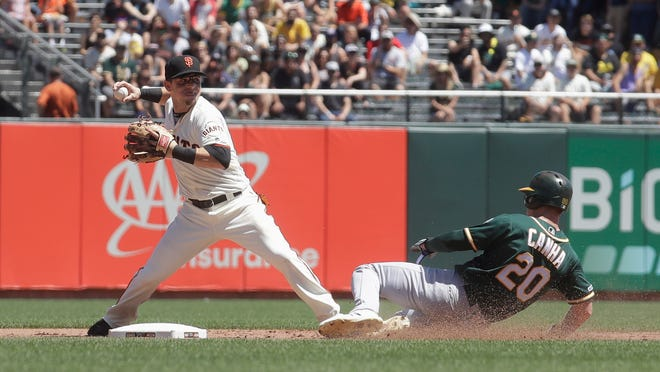 San Francisco Giants second baseman Scooter Gennett, left, throws to first base after forcing Oakland Athletics' Mark Canha (20) out at second base on a double play hit into by Stephen Piscotty during the fifth inning of a baseball game in San Francisco, Wednesday, Aug. 14, 2019. (AP Photo/Jeff Chiu)