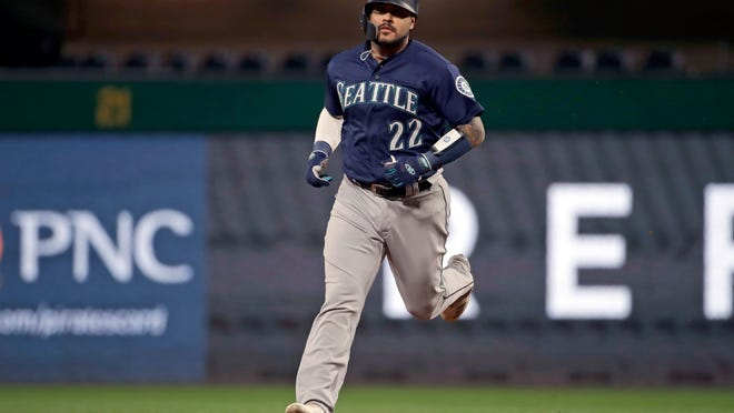Omar Narvaez rounds second after hitting a home run this past season. The Milwaukee Brewers acquired him from the Seattle Mariners on Thursday.