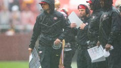 Oct 20, 2019; Landover, MD, USA; San Francisco 49ers head coach Kyle Shanahan walks down the sidelines during the third quarter against the Washington Redskins at FedExField. Mandatory Credit: Tommy Gilligan-USA TODAY Sports