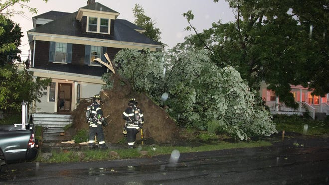 High winds uprooted a large tree at 10 Oakland Court in Warwick Wednesday evening as thunderstorms passed through the area. The tree damaged the porch and two cars that were parked in the driveway. The next door neighbor's house was also damaged.