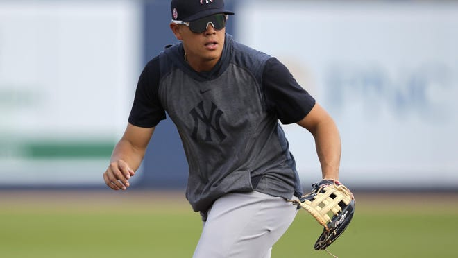 Gio Urshela was one of the Yankees seen exiting the team's spring training complex after morning workouts Saturday.