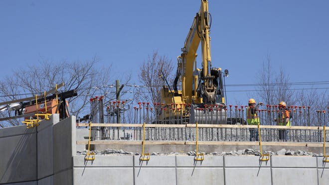 Construction crews working on the Rt17 overpass to Legoland on Friday March 27, 2020 ROBERT G BREESE FOR THE TIMES HERALD RECORD