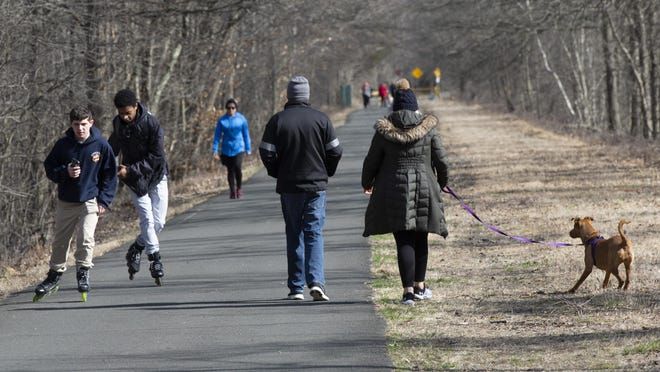 People got outside and enjoyed a walk or ride on the Chester to Goshen section of the OC Rail Trail during the COVID-19 Pandemic on Sunday afternoon.