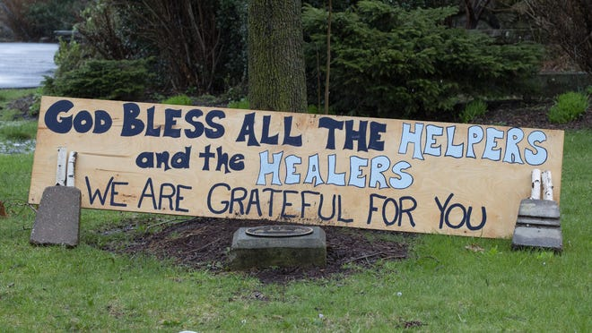 A sign of appreciation was posted Monday outside Warwick reformed Church during the COVID-19 pandemic.