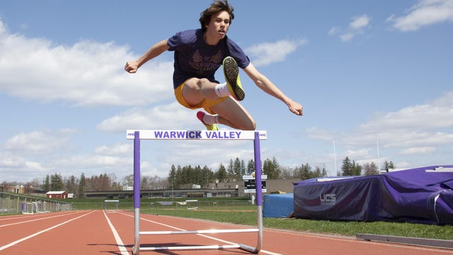 Cohen Emmerich keeps up his skills even while school is not in session. He was jumping hurdles at Warwick Valley High School track on Tuesday.