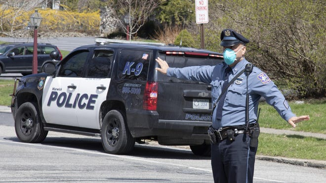 Warwick police direct traffic near St. Anthony Community Hospital on April 11.