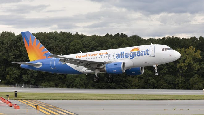 An Allegiant Air jet lands at Stewart airport Aug. 23, 2019. The airline plans to expand its offerings from Stewart.