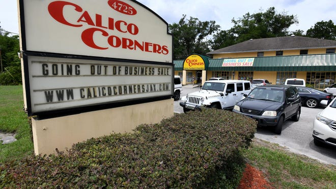 The sign outside Calico Corners in Jacksonville advertises the store's going-out-of-business sale on June 3, 2020. The fabric store is also closing its Stuart and Vero Beach locations, with sales beginning July 30.