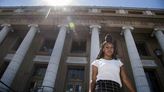 Alayssia Townsell, a McNair High graduate from Stockton who is attending UCLA, stands in from of Stockton City Hall in downtown Stockton. After George Floyd's death, she helped organize youth protests through social media which drew more than 1,000 people, and continues to look for way to bring attention to injustices.