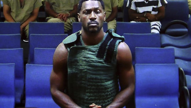 Former NFL player Antonio Brown appears via cc-tv during his hearing in magistrate (first appearance) court at the Broward County Courthouse in Fort Lauderdale on charges of burglary with battery, burglary of an unoccupied conveyance and criminal mischief less than $1,000 on Wednesday, Jan. 22, 2019.
