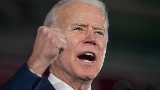 Democratic presidential candidate and former Vice President Joe Biden speaks during his primary election night rally in Columbia, S.C., Saturday, Feb. 29, 2020, after winning the South Carolina primary.