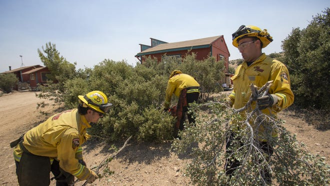 From left, Cal Fire firefighters Noah Poblano, Johnny Vega and Jon Finney clear out brush from a home in Rimrock on August 5, 2020 as part of precautionary measures in case the Apple Fire hits the area.