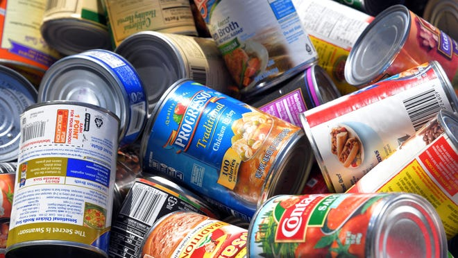 Canned goods collected as a part of more than 42,000 pounds of donations received by the Stockton Emergency Food Bank in 2017. More than 70 percent of the steel used to make metal food containers is from recycled metal; if the supply of recycled metal to the food-processing industry is interrupted, the price of canned goods will increase.
