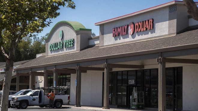 The Dollar Store, left, and Family Dollar will open side by side in the Colonial Plaza shopping center on Hammer Lane and Kelley Drive in North Stockton.