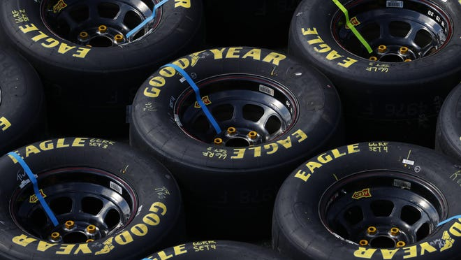 Goodyear Eagle tires are shown during a NASCAR Cup Series auto race at Michigan International Speedway in Brooklyn, Mich., Sunday, Aug. 9, 2020.