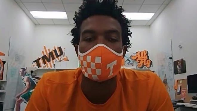This image taken from video shows Tennessee sophomore basketball player Josiah-Jordan James, Friday, July 10, 2020. The Big Ten decision to wipe more than three dozen nonconference football games off the schedule this year has sent a ripple of fear through athletic departments across much of the country.