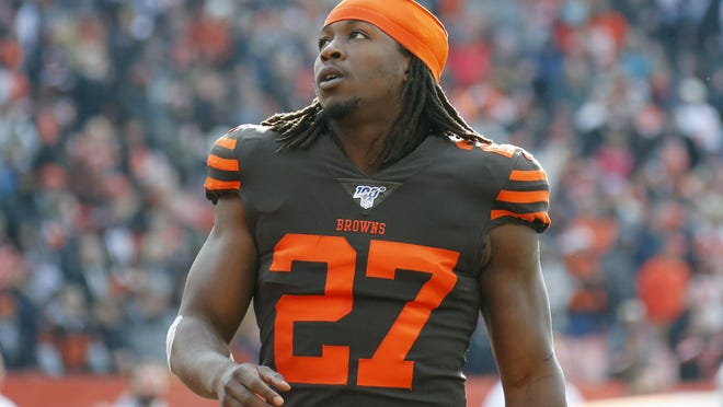 Cleveland Browns running back Kareem Hunt (27) stands on the field before an NFL football game against the Cincinnati Bengals, Sunday, Dec. 8, 2019, in Cleveland. Hunt spoke about the possibility of seeing Browns fans in FirstEnergy Stadium during his Thursday press availability.