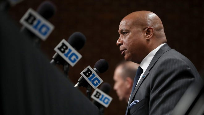 Big Ten commissioner Kevin Warren speaks about the cancellation of the men's basketball tournament at Bankers Life Fieldhouse in Indianapolis, Ind., on Thursday, March 12, 2020.