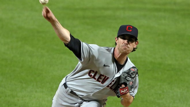 Cleveland Indians starting pitcher Shane Bieber delivers during the sixth inning of a baseball game against the Pittsburgh Pirates in Pittsburgh, Thursday, Aug. 20, 2020. The Indians won 2-0.