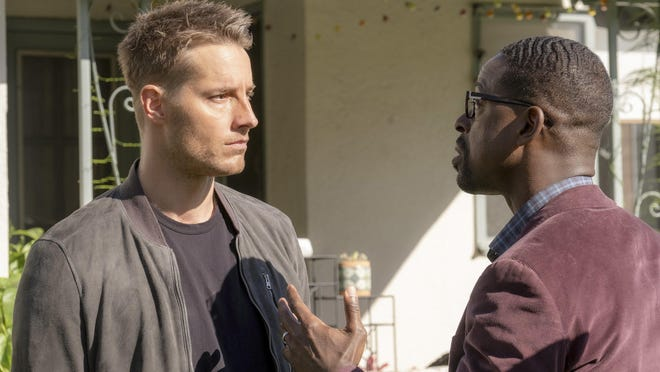 "Justin Hartley, left, as Kevin and Sterling K. Brown as Randall in ""This is Us"""