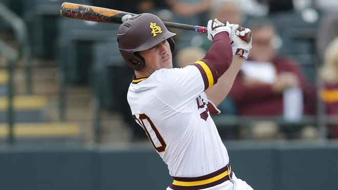 FILE - In this Feb. 17, 2019, file photo, Arizona State's Spencer Torkelson bats during an NCAA college baseball game against Notre Dame in Phoenix. Torkelson is only the third player in Pac-12 history to hit 20 home runs in back-to-back seasons.