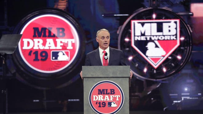 Major League Baseball commissioner Rob Manfred speaks during the first round of the Major League Baseball draft, June 3, 2019, in Secaucus, N.J.