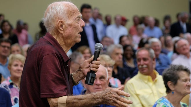 Richard Lee Manning speaks at the first public hearing on the possible sale of New Hanover Regional Medical Center in August 2019. A public hearing will again be held on Monday.