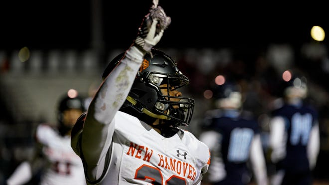 Razz Chandler celebrates after a touchdown run near the end of the first half of New Hanover's win over Hoggard last year. Chandler and the Wildcats now have an official season to look forward to for the upcoming school year after the NCHSAA released its revised athletic calendar for 2020-21.