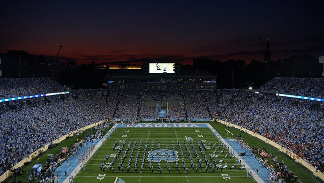 General view of agame between the North Carolina Tar Heels and the Miami Hurricanes at Kenan Stadium on Sept. 7, 2019 in Chapel Hill, N.C.