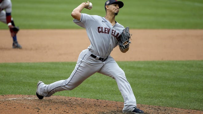 Saturday, August 29, 2020, Cleveland Indians starting pitcher Carlos Carrasco (59) delivers during the sixth inning of a baseball game  against the St. Louis Cardinals in St. Louis.