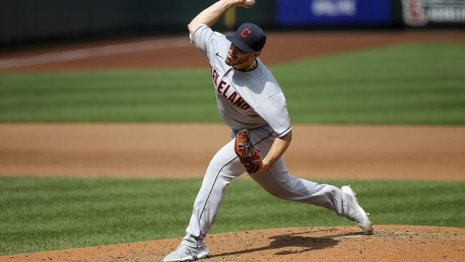 Cleveland Indians starting pitcher Aaron Civale (43) delivers during the fifth inning of a baseball game against the St. Louis Cardinals Sunday, Aug. 30, 2020, in St. Louis.