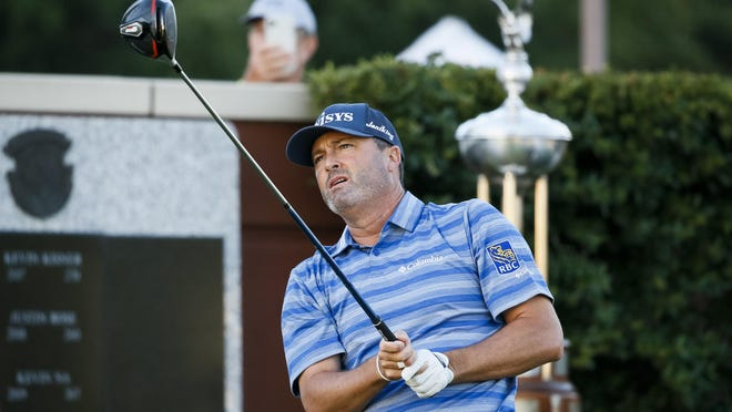 Jun 11, 2020; Fort Worth, Texas, USA; Ryan Palmer plays a shot from the first tee during the first round of the Charles Schwab Challenge golf tournament at Colonial Country Club. Palmer was the first player to tee off as professional golf makes its return. Mandatory Credit: Raymond Carlin III-USA TODAY Sports