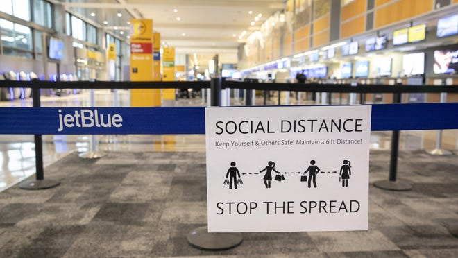 Austin-Bergstrom International Airport is quiet on March 30, amid the coronavirus pandemic. A few days earlier, health officials learned that a group of University of Texas students that had traveled through the airport had contracted the virus during a trip to Mexico.