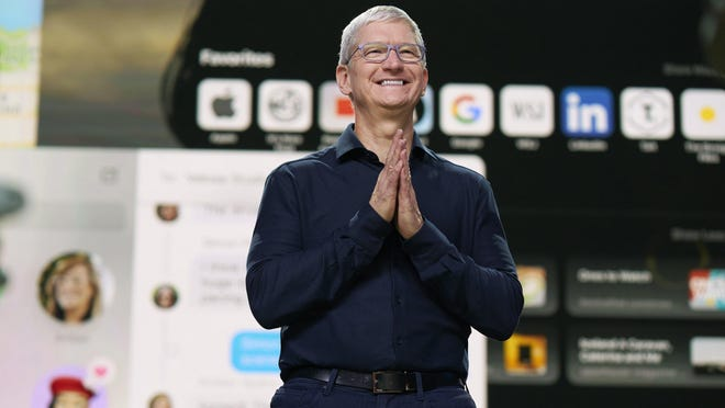 Apple CEO Tim Cook delivers the keynote address during the 2020 Apple Worldwide Developers Conference in Cupertino, Calif., on Monday.