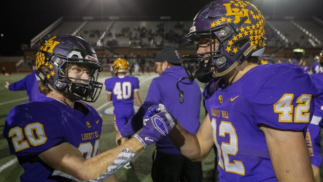 Liberty Hill running backs Trey Seward, left, and Blake Simpson combined for almost 4,000 yards rushing a year ago. Both return this season for the Panthers.