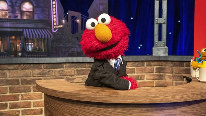 """Muppet character Elmo hosts a family-friendly show called """"The Not Too Late Show with Elmo."""" It's one of the original series on HBO Max."""